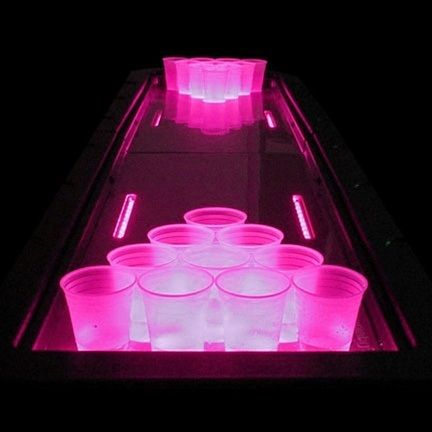 girly beer pong. Use pink cups and glow sticks. (could use other colors)