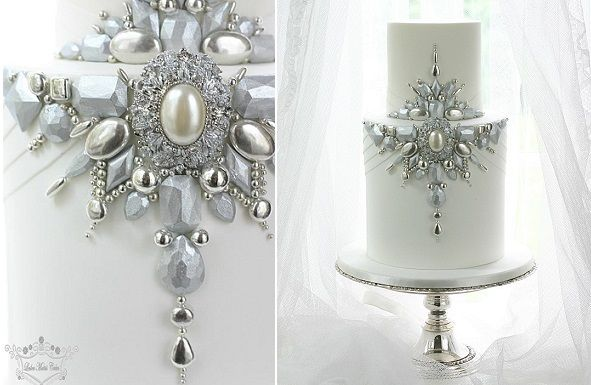 Jewelled & Beaded Winter Wedding Cakes - Cake Geek Magazine