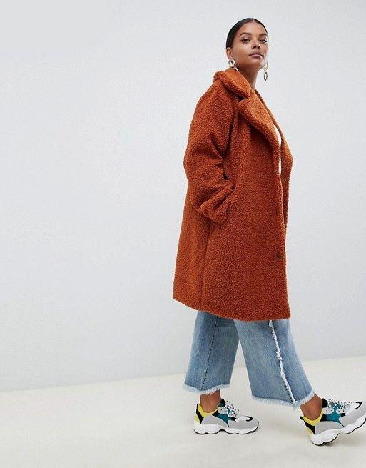 92bd0e8a3c6 Boohoo Plus teddy coat in brown