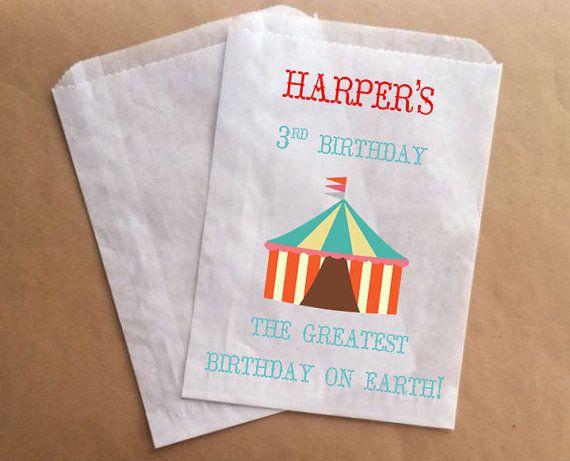 Circus Birthday Treat Bag Kids Birthday Favor Bag Circus Theme Party