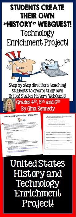 EXCELLENT UNITED STATES HISTORY ENRICHMENT TECHNOLOGY PROJECT, CAN BE USED WITH ANY TOPIC! Step by step directions for students to create their own United States history WebQuest for their classmates. While creating the WebQuest, your students will inadvertently learn new knowledge about the topic at the same time. This project provides an authentic way for students to learn about a topic through discovery as well as create a usable resource for others. $