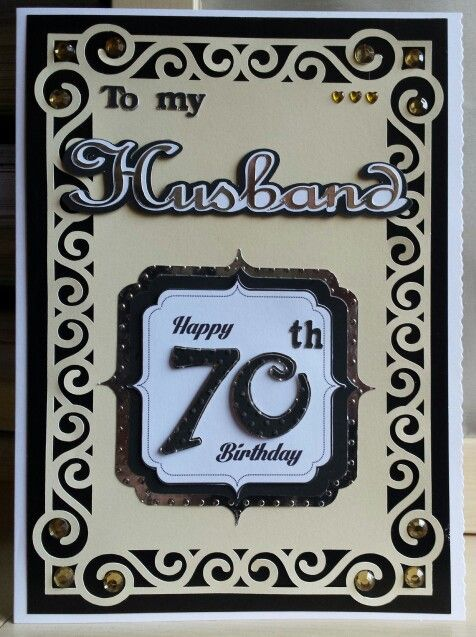 297 best my birthday cards images on pinterest anniversary cards 70th birthday husband card gold black and white bookmarktalkfo Images
