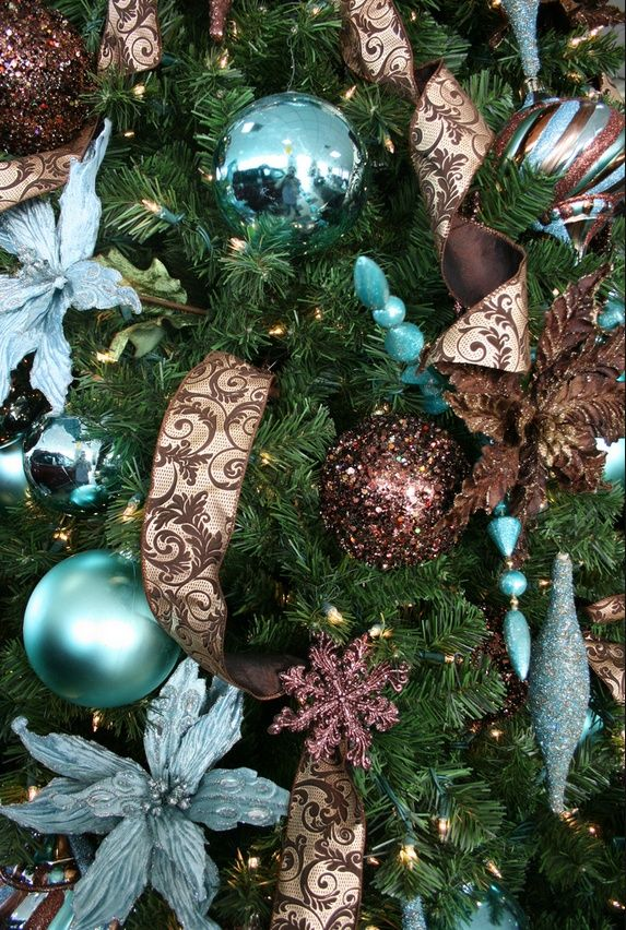 Bronze Christmas Tree Silver | Tiffany blue and brown