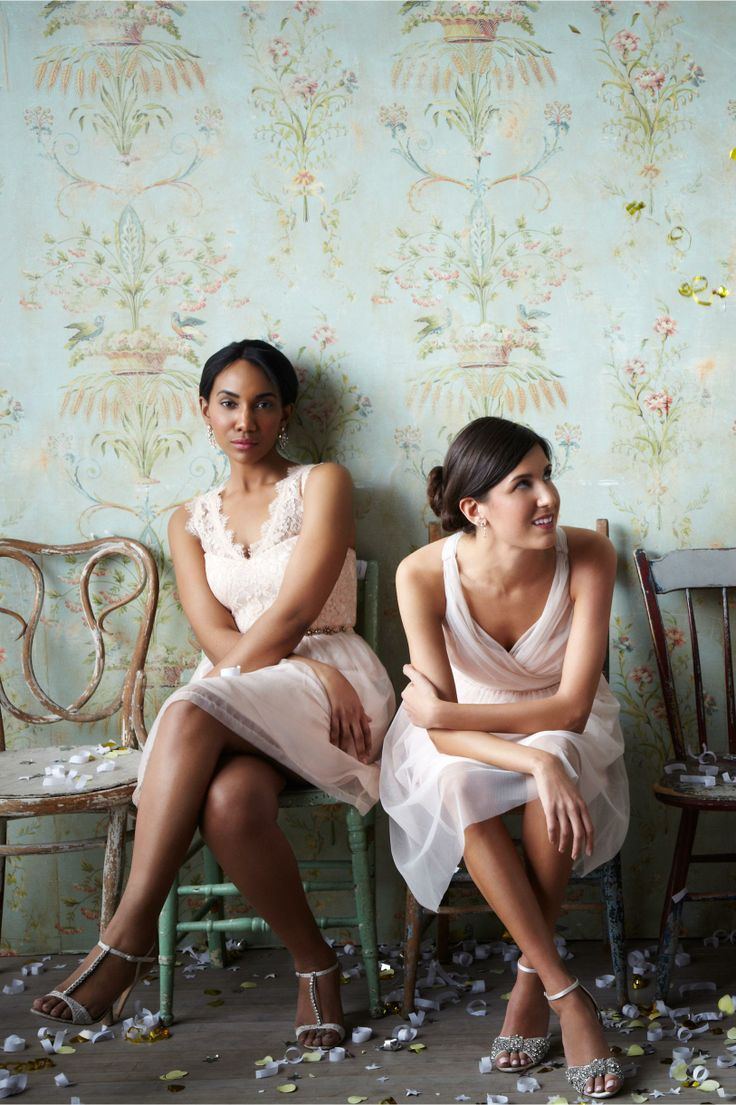 Tansy Bridesmaids Dress in Blush from BHLDN -- love the wallpaper backdrop!