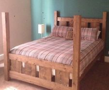 HANDMADE SOLID WOOD RUSTIC CHUNKY SLATTED FOUR POSTER DOUBLE KING SIZE BED FRAME