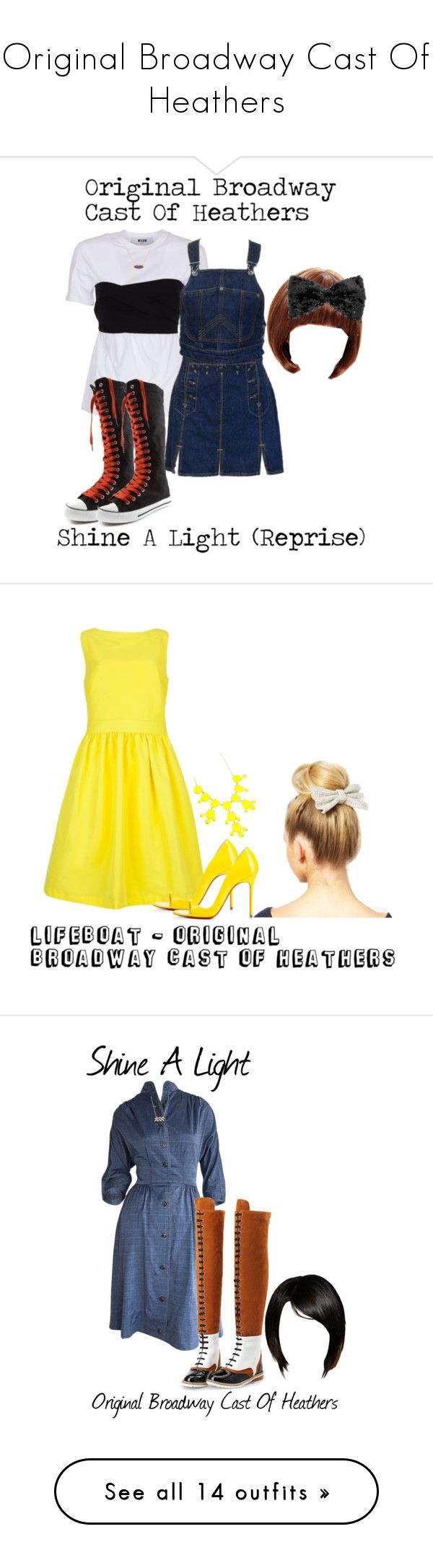 """""""Original Broadway Cast Of Heathers"""" by sjc1999 ❤ liked on Polyvore featuring beautiful, candystore, originalbroadwaycastofheathers, MSGM, Jean-Paul Gaultier, Delfina Delettrez, Wigs2You, shinealightreprise, Ted Baker and Christian Louboutin"""