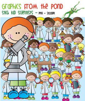 Scientist Stick Kids - Clipart for Teaching$