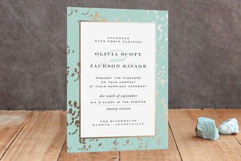 Cool Robin's Egg Blue Foil-Pressed Wedding Invitations by Carrie ONeal at minted.com