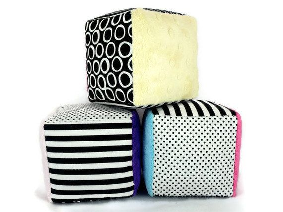 Minky Fabric Soft Blocks - Plush Stuffed - Black and White Polka Dots Stripes Striped - Set of Three - Choose Your Minky Color, via Etsy.