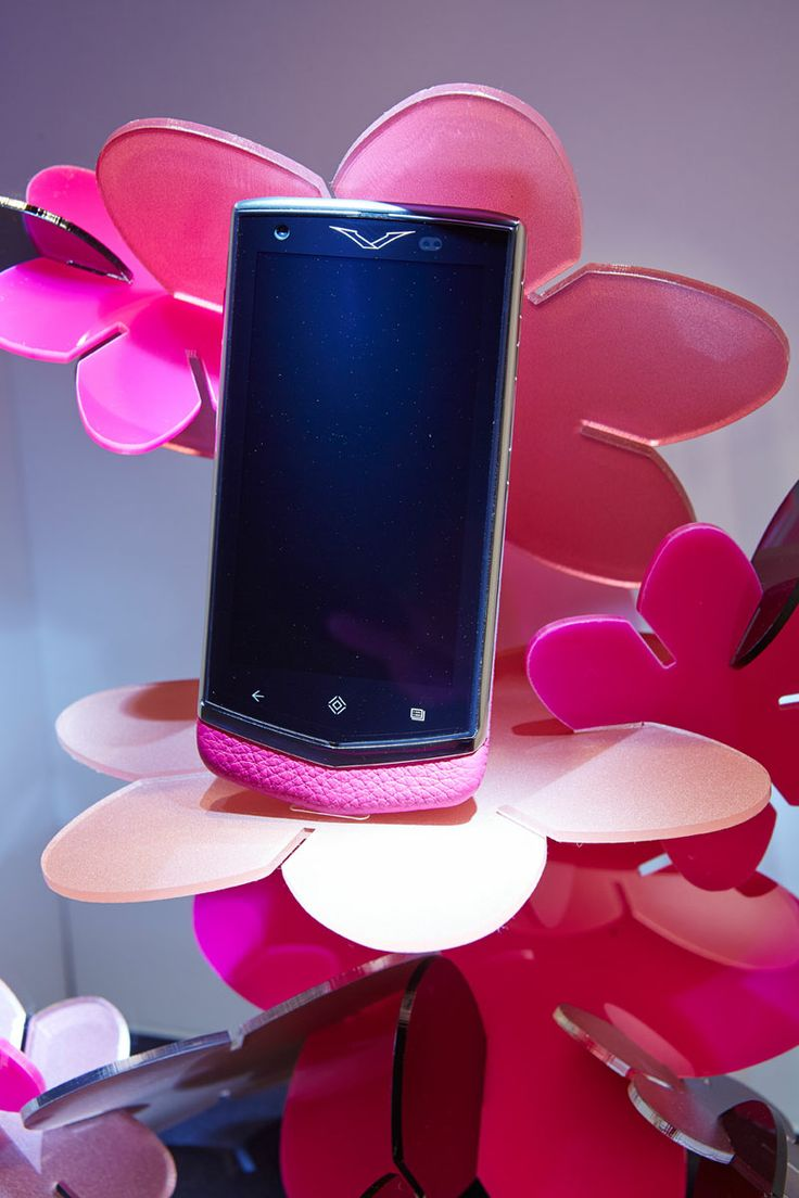 Bright colours were used to compliment the complete range of colours featured in Vertu's mobile design.