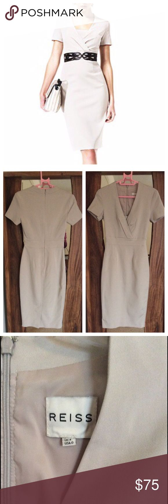 REISS dress Perfect neutral for any occasion. Very slim fitting. Worn a handful of times. EUC with Light wear in fabric. Reiss Dresses Midi