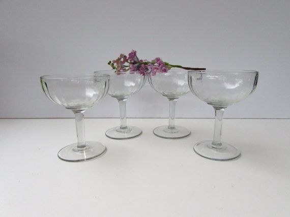 Set of 4 Mid Century Modern Champagne Glasses by McBeanHomeVintage