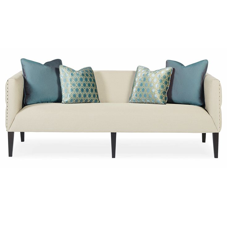 Bernhardt Interiors. Nora Sofa with tufted sides, in ivory and sky blue