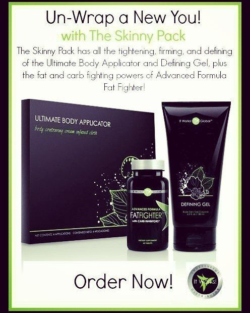 ♡The Skinny Pack is the very first thing I ordered when I started with It Works! over 2 years ago!  ♡It comes with a pack of our body contouring wraps that tighten, tone and firm the appearance of cellulite, a bottle of our liquid hold aka: Defining Gel that enhances the tightened, toned and firmed appearance of your skin and a bottle of the amazing fat fighters that cut those diet killing cravings and absorb carbs even after you've eaten them!  My website is: http://jesslynn84.myitworks.com
