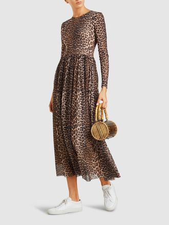 b42dac51 Ganni - Leopard Print Mesh Maxi Dress. This dress has long sleeves & a crew  neck. Animal prints are huge for Fall 2018, so this Ganni dress is a great  ...