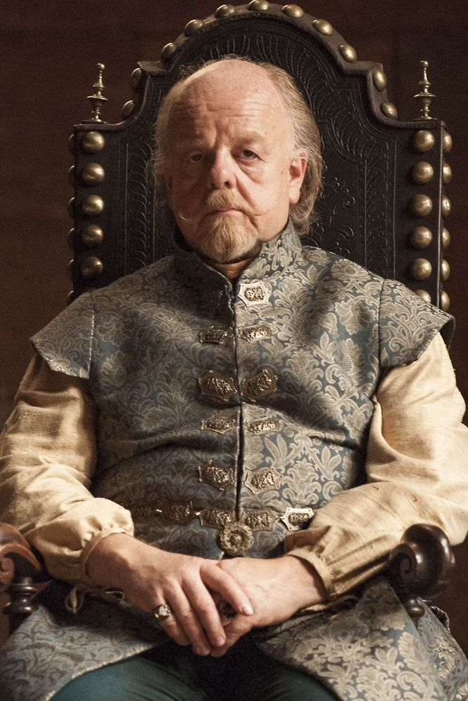 """Lord Mace Tyrell is a recurring character in the fourth, fifth and sixth seasons. He is played by guest star Roger Ashton-Griffiths and debuts in """"The Lion and the Rose"""". Lord Mace Tyrell is the Lord of Highgarden and head of House Tyrell. He is the father of Loras and Margaery Tyrell, and the son of Olenna Tyrell. He initially supported Renly Baratheon's claim to the Iron Throne in the War of the Five Kings, but after Renly's death he successfully negotiated an alliance with House…"""