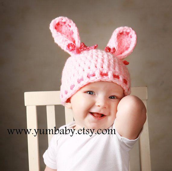 Baby Hats Bunny Cap Winter Beanie Christmas Gift Ideas Holiday Stocking Stuffers Handmade Rabbit Hat Photo Props Pink Bunny Ears Hat Fashion. $18.95, via Etsy.