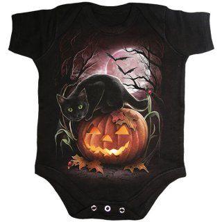 Body bébé gothique noir avec chat noir sur citrouille Halloween