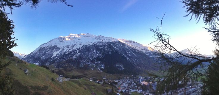 Great view over the snow capped #Gemsstock and the village of #Andermatt. Last sunrays bring the glacier and fresh snow to glow.