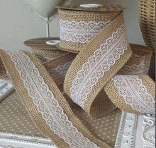 5M Jute Naturel jute Hesse ruban de dentelle Rogne bande Décor gâteau de mariage Mariage rustique topper(China (Mainland))