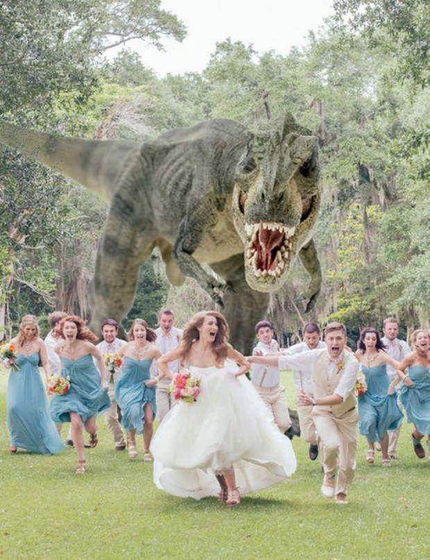 Amour monstreSur son ordinateur, le photographe saura sans mal changer le fond de l'image et passer de Jurassic Park à une cascade tropicale ou un ciel azuré. En revanche, aux acteurs du jour de jouer le jeu!