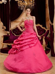 Coral Red Beading Appliqued Dress for Quince with Pick-ups
