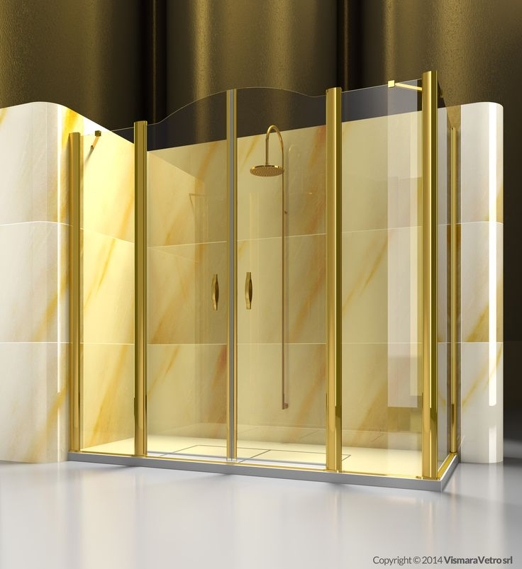 Corner shower enclosure made by an opening element A4 with a side element FD. | Shower enclosures Gold by @vismaravetro | A4+FD