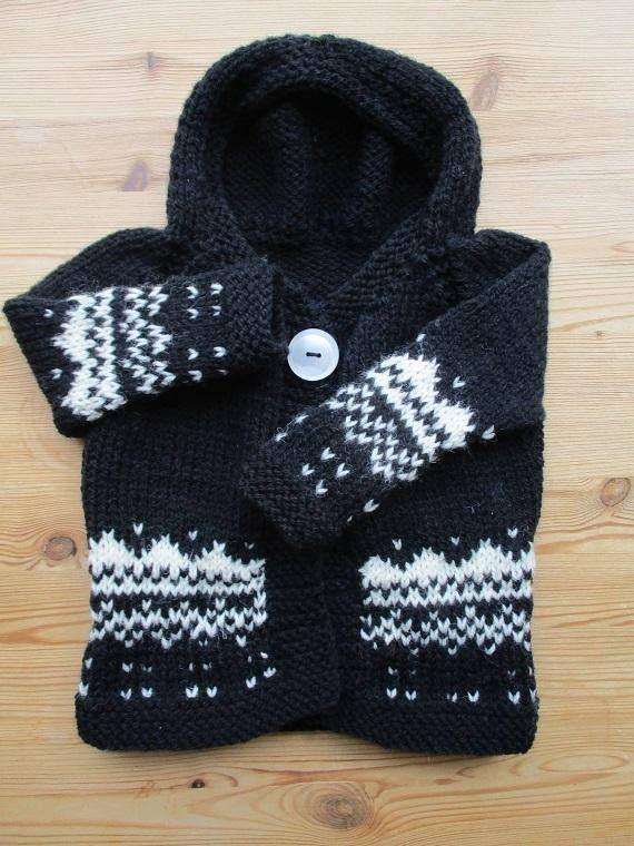 Icelandic knit hoodie black white sweater top baby coat