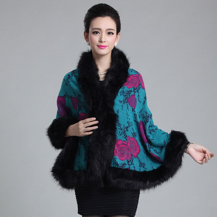 Winter Cloak New Fashion Women's Clothing Printing Knitting Temperament Luxury High-Grade Fox Fur Shawl Fur The Winter Jacket