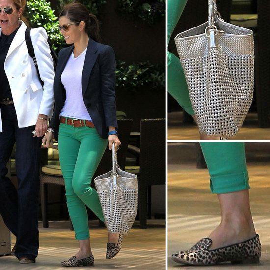 Green Jeans & blue blazer with a metallic purse, love it!: Brown Belt