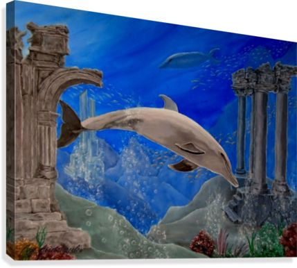 Painting,  dolphin,underwater,world,scene,aquatic,life,wildlife,fish,seascape,ruins,temples,sunk,ancient,town,saltwater,ocean,sea,deep,bottom,floor,nature,corals,reefs,bubbles,vivid,colorful,aqua,blue,water,mystery,submerged,marine,animal,contemporary,realism,figurative,fine,oil,wall,art,images,home,office,decor,artwork,modern,items,ideas,for sale,pictorem,pinterest