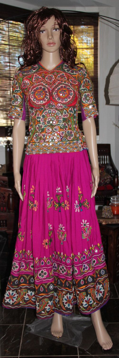 Beautiful  Vintage style Rabari Ghagra Choli with Kutchi hand embroidery accentuated with mirror work in Deep Rani and Green colour by EleganceByRajul on Etsy