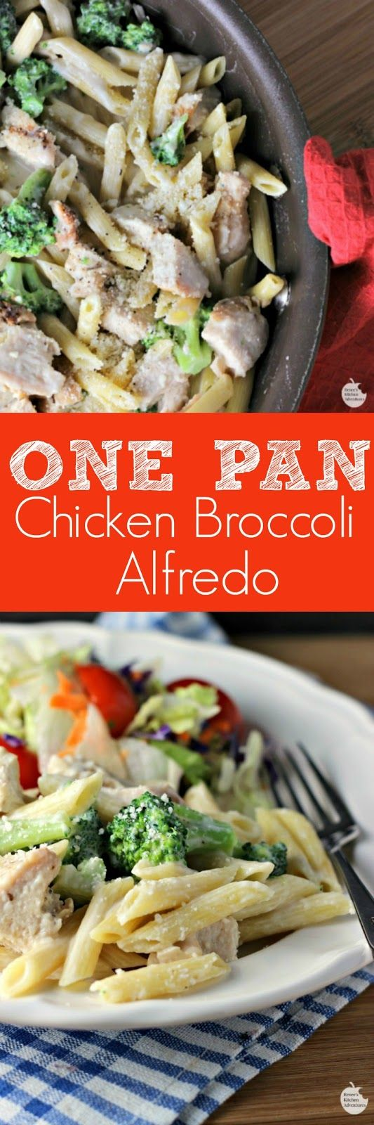 [ad] One Pan Chicken Broccoli Alfredo | by Renee's Kitchen Adventures - quick and easy healthy recipe great for a weeknight dinner done in about 10 minutes from start to finish! #EverydayEffortless