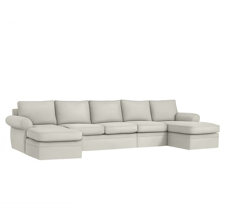 Pearce Slipcovered 4 Piece Double Chaise Sectional Down