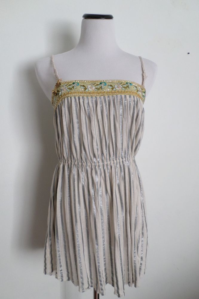Free People White & Gray Strips Tube Top Dress Size M  #FreePeople #tubetop #Casual