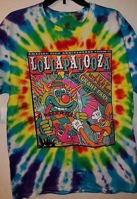 2016 Lollapalooza 25th Anniversary Tie Dye T-Shirt L Radiohead Snails G-Eazy