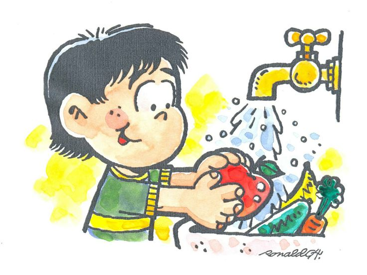 A child washing some vegetables to eat them.