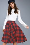 Bristol Navy Blue and Red Plaid Flannel Midi Skirt 1