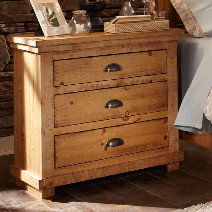 Progressive Furniture Willow 3 Drawer Nightstand - Give your bedroom a welcoming, lodge-style look with the Progressive Furniture Willow 3 Drawer Nightstand . This bedside organizer is crafted from...