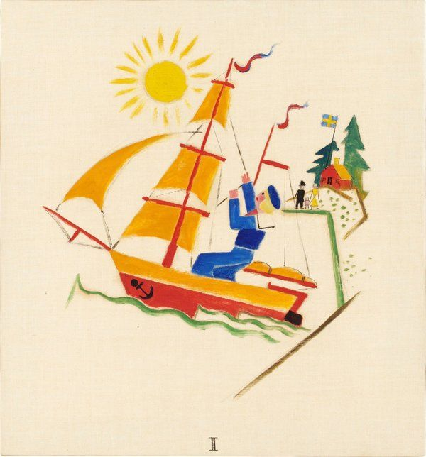 Gösta Adrian-Nilsson  🔹 I - Lille Olles Resa, 1920  🔹 Oil on canvas 29 x 27 cm https://www.bukowskis.com/auctions/557/138-gosta-adrian-nilsson-lille-olles-resa?locale=en&page=7