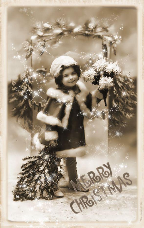 Brocante Brie, bewerkte vintage foto kerst