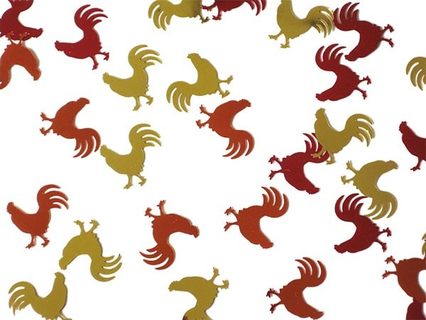 Confetti shaped like a hen/ rooster perfect for hens nights, easter and animal events.  Hens are metallic orange, gold and red $4.95
