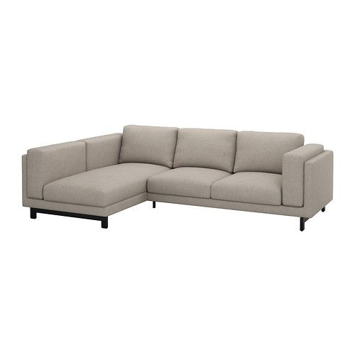 IKEA - NOCKEBY, Loveseat with chaise, left, left/Tenö light gray, wood, , You get extra soft comfort and support because the thick seat cushions have a core of pocket springs and a top of cut foam and polyester fibers.The core of pocket springs is durable and keeps its form and soft comfort for a longer time.There's plenty of room for everyone to sit comfortably thanks to the sofa's spacious design.Heavy, durable fabric with structure, yarn-dyed in different shades.The cover is easy to keep…