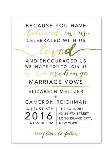 Best 25 wedding invitation wording ideas on pinterest wedding a gold foil stamped wedding invitation by weddingpaper brides stopboris Images