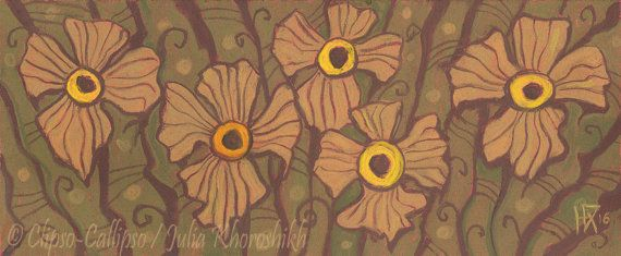 Yellow-eyed flowers pastel painting floral motif by ClipsoCallipso