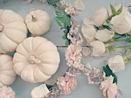 white pumpkins and blush pink flowers - fall wedding