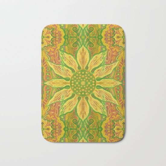 """Sun Flower"", bohemian floral, yellow, green & orange Bath Mat by Clipso-Callipso | Society6"