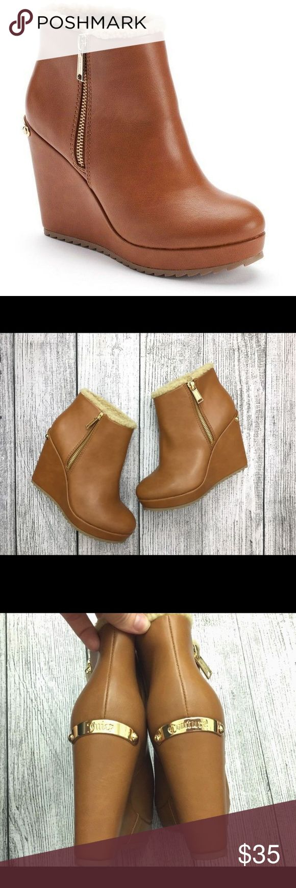 "NEW Juicy Couture Platform Wedge Ankle Boots BRAND NEW (without box) Juicy Couture Platform Wedge Ankle Boots! Tan/brown with gold zipper Faux fur Women's size 6  4"" heel height with 1"" platform Juicy Couture Shoes Ankle Boots & Booties"