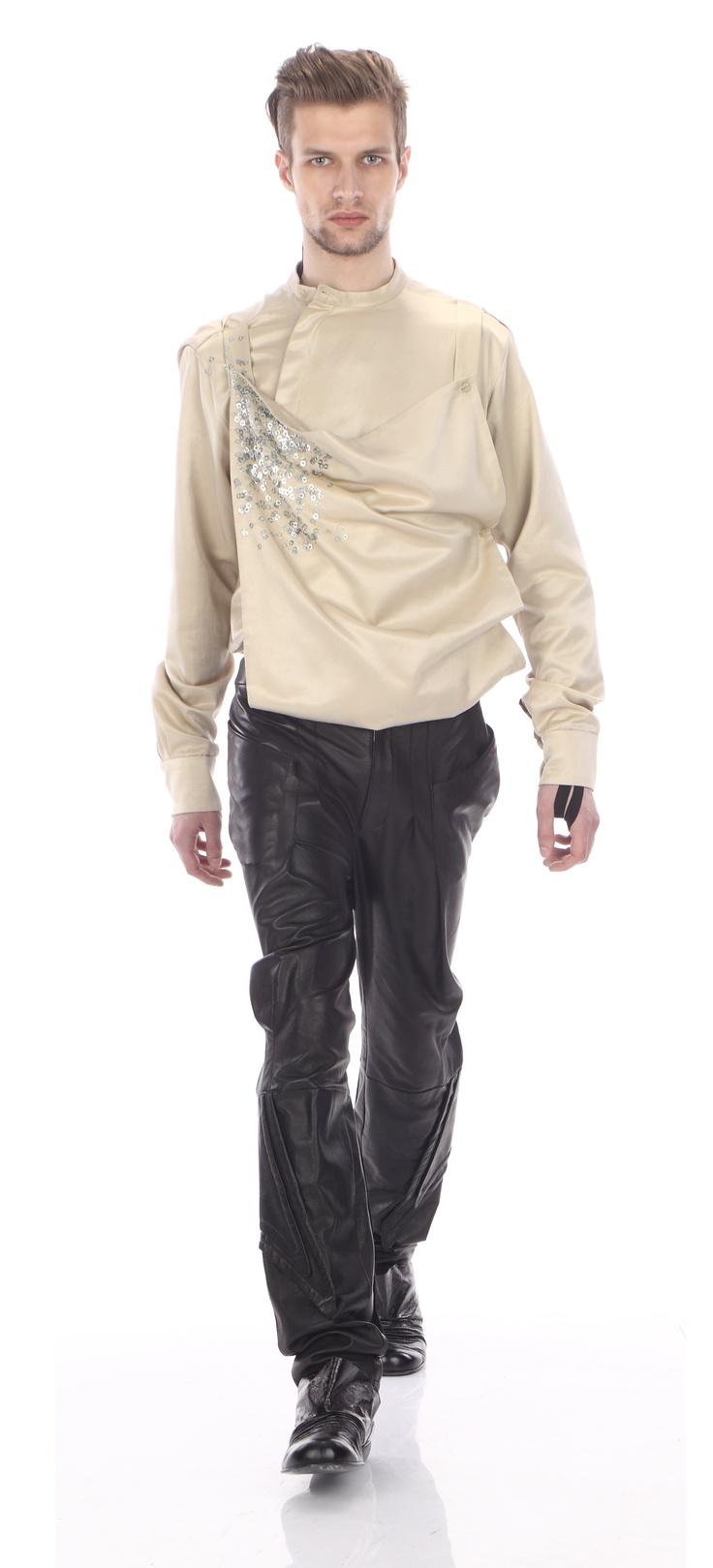 Shirt- apron ( satin cotton), trousers ( leather), shoes ( leather)