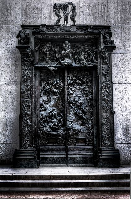 The Rodin Sculpture The Gates of Hell in Paris France.
